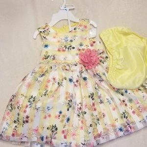 Yellow floral girls dress